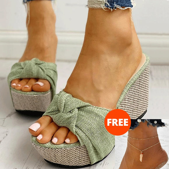 Free Gift Feet Chain Slip On Leisure Platform Sandals 2020 Wedges High Heels Women Shoes 2020 Woman Mules Flip Flops