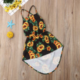 Kids Baby Girl Backless Summer Dress 2020 Sunflower Print Party Pageant Dress Sundress 1-6Y