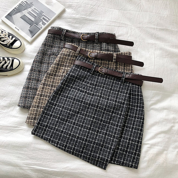 Korean Irregular Lady Skirt 2020 Female Autumn Sweet High Waist A-Line Mini Skirt 2020 Vintage Casual Women Plaid Skirt 2020 Chic Sashes