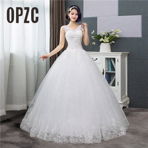 Cheap Wedding Dresses, V-Neck Lace Tank Sleeveless Wedding Dresses 2020 Floral Print Ball Gown Wedding Dress 2020 New Fashion Simple Estados de novias CC