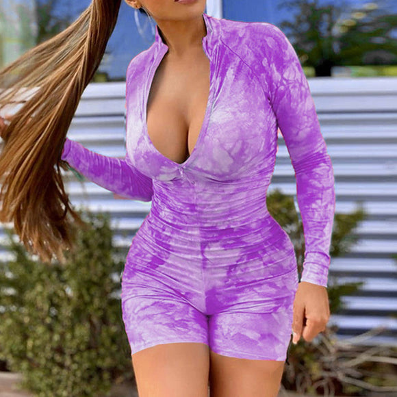 Women Sexy Jumpsuit 2020 Ladies Deep V Neck Tie Dye Rompers 2020 Womens Jumpsuits Clubwear Long Sleeve Deep V Neck Sexy Romper