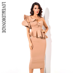 Ruffle Dress 2020 Nude One-Shoulder Ruffle Trim Two-Pieces Slim Sets 2020