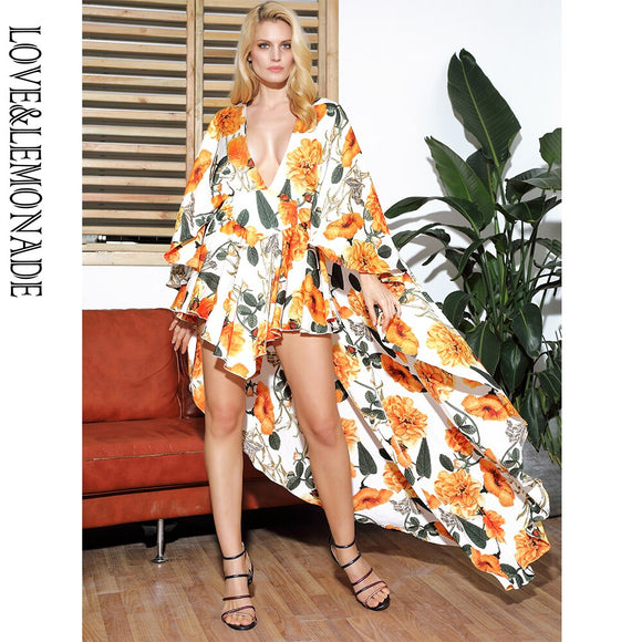 Sexy Deep V-neck Cloak Ruffled Floral Print Playsuit 2020
