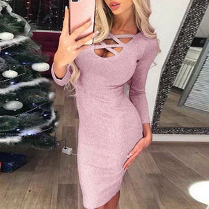 Pink Bodycon Dresses 2020 Women's Sexy V Neck Long Sleeve Club Wear Ladies Slim Wine Red Midi Dress 2020 Femme Solid Color Party Vestidos Hot