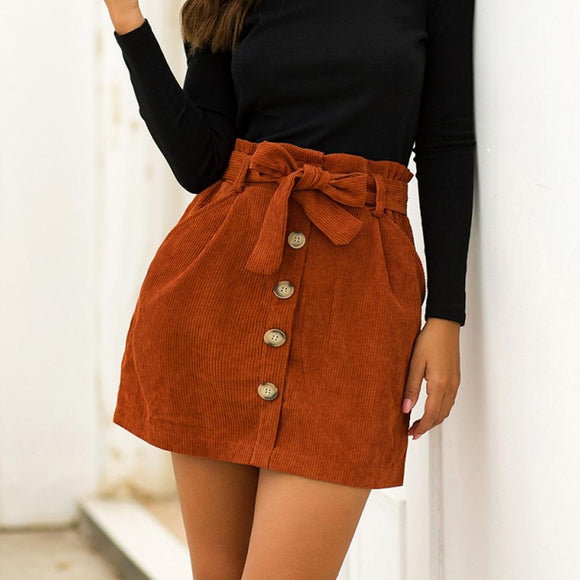 Orange Corduroy Skirt New Fashion Hight Waist Pocket Button Bow Skirt Elastic Short Skirt Black Corduroy Skirt