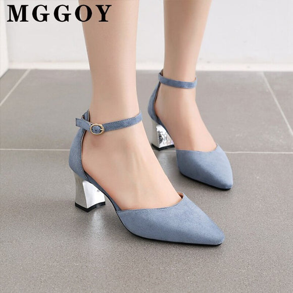 Large Size Pointed Toe Pumps Women Shoes 2020 Ankle Strap Rubber Women's Shoes 2020 Lady Sandal Square Heel Sandals Female High Heels New