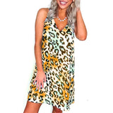 Leopard Printed Dress 2020 Vintage V-Neck Backless Dress 2020 Leopard Sundress Summer Holiday Knee-Length Dress 2020