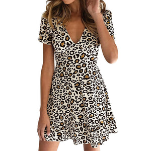 Leopard Printed Dress 2020 Women Summer Natural Short Sleeve Sexy Dress 2020 Ladies Sexy V-Neck Mini Dress 2020 Leopard Vintage Dress   Swansstyle