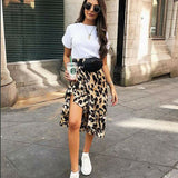 Asymmetrical Leopard Skirt 2020 Women Fashion Sexy Wrap Over Asymmetrical Calf Length Skirt 2020 Ladies Summer Casual High Waist Slim Skirts Leopard Sundress