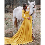 Long Sleeve Tail Maternity Dresses For Photo Shoot Maternity Photography Props Yellow Maxi Pregnancy Dresses For Pregnant Women Clothes Long Sleeve Green Pregnancy Dress