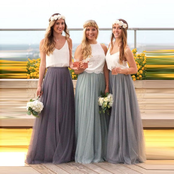 Long Tulle Bridesmaid Dress 2020 Candy Color Elegant Dress 2020 Women for Wedding Party Junior Bridesmaid Dresses Plus Size