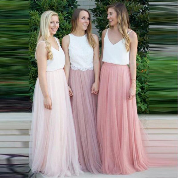 Long Tulle Bridesmaid Dress 2020 Candy Color Guest Dresses for Party and Wedding Plus Size Vestido Azul Marino V Neck Wedding Guest Dress 2020   Swansstyle