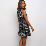 Casual Women Summer Polka Dot Print Dress 2020 Stand Collar Ruffle Dress 2020 Boho Short Black Sleeveless Mini Dress Clothes Sundress Fashion
