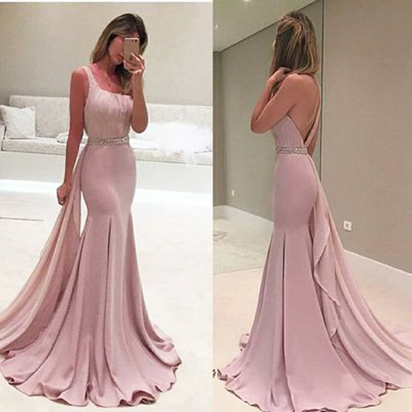 Pink Evening Dresses 2020 Luxury Pink Mermaid Evening Dresses 2020 Sleeves Pearls Belt Dubai Saudi Arabic Formal Evening Gown Prom Dress Robe de Soiree