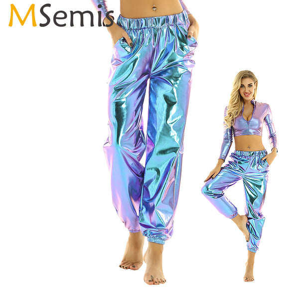 Womens Shiny Metallic Holographic Pants 2020 Clothes Rave Festival Disco Pole Dance Wear Pants 2020 Sweatpant Hip Hop Trouser Street wear