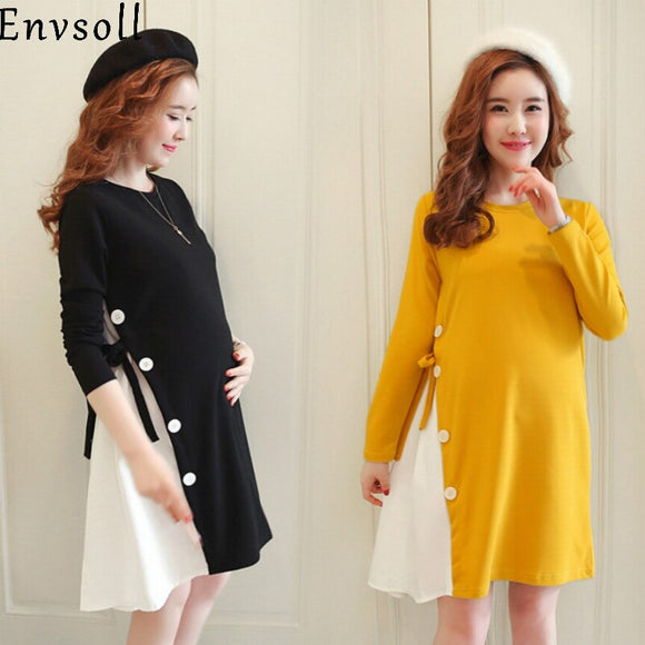 Yellow Maternity Clothes Autumn Long Sleeve Cotton Yellow Pregnant Dress Black Long Sleeve Pregnancy Dress For Boat Neck Pregnant Women