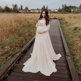 White Maternity Long Dress Long Sleeve Crochet Lace White Maternity Chiffon Dress Prom Pregnancy Dress White