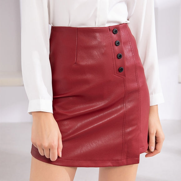 Mazefeng New Women Pu Leather Skirt 2020 Autumn Winter Ladies Fashion Button A-Line Package Hip Mini Skater Skirt 2020 Size S-Xl