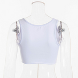 White Sexy Crop Top 2020 Metal Chain Sleeveless White Crop Top 2020 Sexy Clubwear Women Adjustable Lace Up Sundress Hollow Out White Tank Top 2020