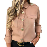 Military Top Casual Button Blouse 2020 Women Shirts With Pocket Blouse 2020 Offices Lady Blouse Chemisier