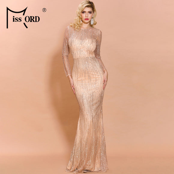 Turtleneck Prom Dresses 2020 Women Sexy O Neck Long Sleeve Glitter Dresses 2020 Sequin Dresses Female Elegant Bodycon Maxi Dress