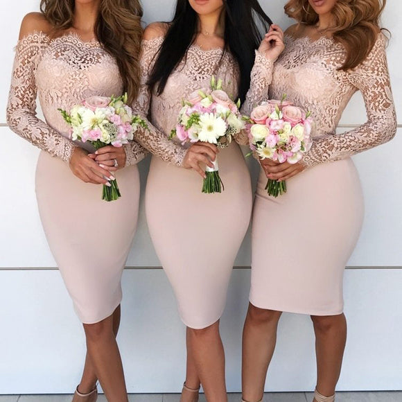 Slash Neck Bridesmaid Dresses 2020 Women Sexy Slash Neck Lace Off Shoulder Dresses 2020 Long Sleeve Solid Color Dresses Female Christmas Elegant Dress FT18912