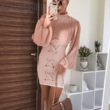 MissyChilli Pink sexy long lantern sleeve short dress Lace up bodycon evening ladies party dress Knitted pleated dress elegant