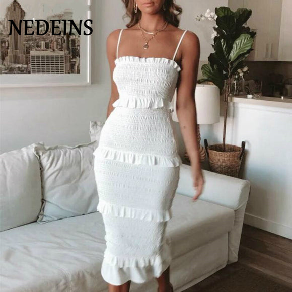 White Ruffle Long Dress 2020 Sleeveless Midi Dress Fashion Pink Sling Long Dress Women 2020 Casual Party Dress Female Ruffles Vestidos Plus Size Natural Solid Dress Black Ruffle Pencil Dress 2020