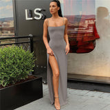 Women Black Split Dress 2020 Backless Split Dresses Camisole Elastic Female Sexy Slim Fit Sexy Dresses 2020 Party Clubwear Long Sleeveless Dress
