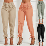 Spring Women Solid Loose Pants 2020 Casual High Waist Belt Pocket Bow Tie Ruffles Trousers 2020 Women Bottom Sashes Pants 2020