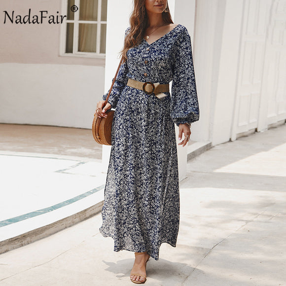 Vintage Floral Maxi Dress 2020 Summer Long A-Line High Waist Lantern Sleeve Maxi Dresses 2020 Spring Elegant Retro Boho Dress 2020 Women Vestidos