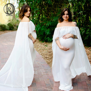 White Maternity Maxi Dress Shiny Belt Maternity Clothes Long Dress For Pregnant Props White Baby Shower Dress 2020 Off shoulder Mother Dress