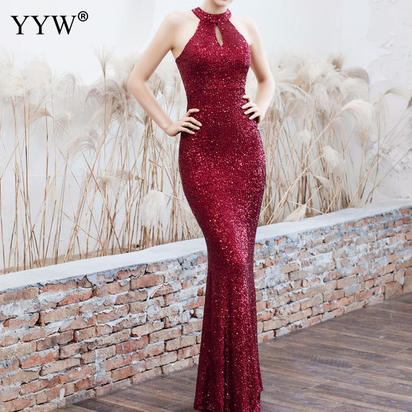 New Women Sequined Party Long Dresses Halter Sleeveless Mermaid Evening Dress Ladies Solid Sexy Robes Elegant Formal Gowns