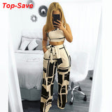 Summer Two Piece Set Women One Shoulder Two Piece Sets Tops High Waist Wide Leg Pants 2020 Printed Vintage Ladies Matching Set Outfits 2020