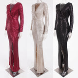 New Burgundy Stretchy Sequin Party Dress Bodycon V Neck Long Sleeve Full Length Lining Split Club Wrap Dress Beige Black
