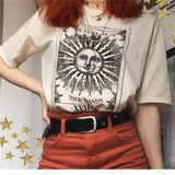 New Harajuku aesthetic Tshirt 2020 Sun moon Print Short Sleeve Tops & Tees Fashion Casual T-Shirt Women Clothing Women Print O Neck T-shirts