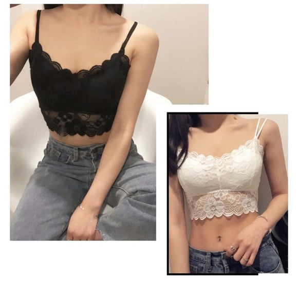 White Crop Top 2020 New Lace Strap Wrapped Chest Shirt Top New Underwear Bralett Ladies Camisole Black White Women Summer Plus Size Crop Top