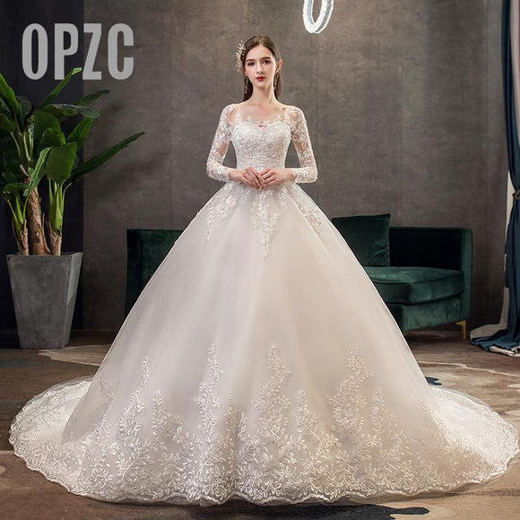 New Romantic Sweet Elegant Princess Wedding Dresses 2020 Luxury Lace Wedding Dress 100 cm Long Sleeves Appliques Celebrity Ball Gown 2020 vestido De Noiva