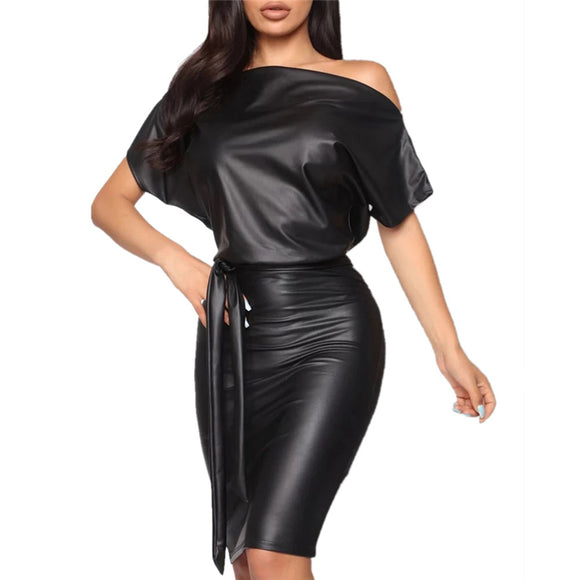 New Women PU Black Leather Mini Dress 2020 Sexy Black Crew Neck Wet Look Bodycon Bandage Party Club Mini Dress