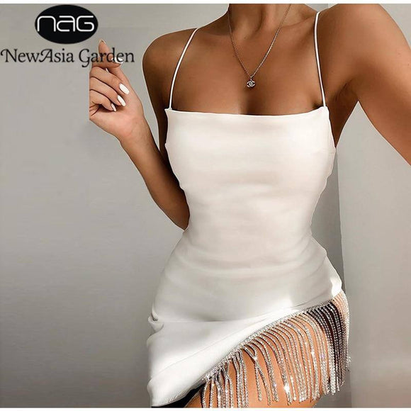 2 Layers Diamond Party Dress 2020 Summer Backless Tassel Hem Valentine Sexy Club Dress Elegant White Dress Mini