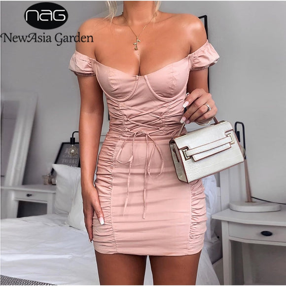 Cheap Dresses 2020 NewAsia Puff Sleeve Party Dress Women Summer Off Shoulder Sexy Bodycon Dress Corset Lace Up Tight Mini Ruched Dress Pink Dresses