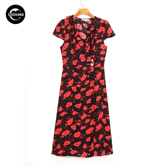 Chic Red Floral Print Midi Dress 2020 V Neck Red Split Sexy Dress 2020 Short Sleeve Summer Style Casual Vintage Dress   Swansstyle