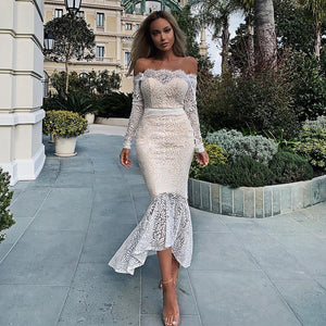Ocstrade New Arrival Women Off the Shoulder Midi Bandage Dress Lace Party Dress