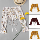 Cheap Women T-Shirts 2020 Off Shoulder Floral Print T-Shirts 2020 Spring Summer Women Short T shirts High Street Bownot Long Lantern Sleeve Tee Crop Tops