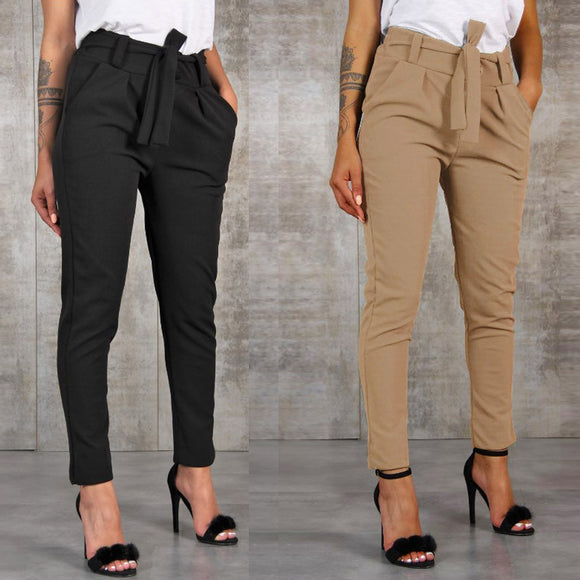 Office Lady Black Suit Pants With Belt 2020 High Waist Solid Long Trousers 2020 Fashion Pockets Pants 2020 Trousers Pantalones