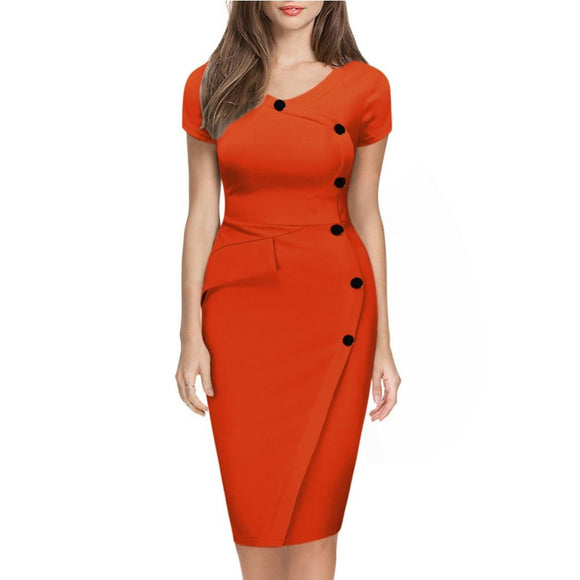 Pencil Orange Dress 2020 Summer Women Solid Red Sheath Wrap Dress 2020 Casual O-Neck Blue Knee-Length Bodycon Dress   Swansstyle
