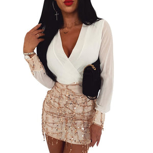 Patchwork Chiffon Dress 2020 Women Bling Bling Sequin Chain Mini Dress 2020 Sexy Deep V Party Sexy Dress 2020 Slim Streetwear Hot Work Clothing   Swansstyle