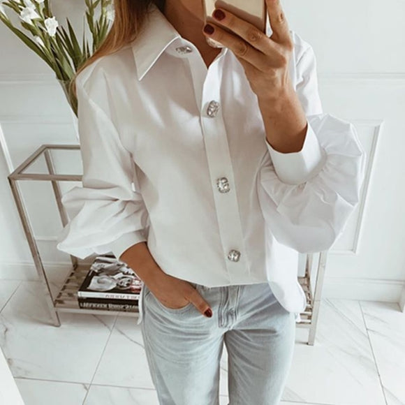 Plus Size White Blouse 2020 Long Sleeve Lapel White Shirt Office Ladies Work Blouses 2020 Fashion Clothing Women's White Shirts