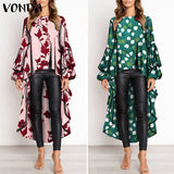 Plus Size Women's Summer Blouse 2020 Bohemian Printed Top Hem Shirt 2020 Female O Neck Casual Tunic Long Sleeve Blouse