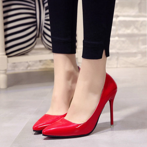 Plus size 34-44 Hot Women's Shoes Pointed Toe Shoes 2020 Patent Leather Dress High Heels 2020 Wedding Shoes Woman Red Wine Red